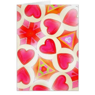 Cartão Teste padrão Punchy do coração