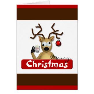 Cartão Tipsy engraçado do Natal da rena