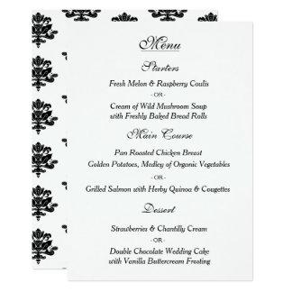 Cartão tirado mão do menu do casamento tema
