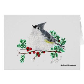 Cartão titmouse do Natal, Titmouse adornado