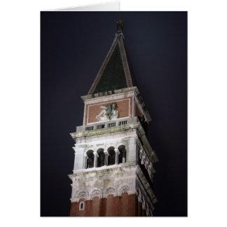 Cartão Torre de Veneza San Marco Bell no nighttime
