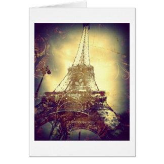 Cartão Torre Eiffel, Brown, roxo e ouro, vazio