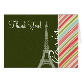 Cartão Torre Eiffel com as listras corais & verdes