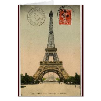Cartão Torre Eiffel do vintage