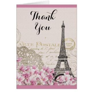 Cartão Torre Eiffel do vintage com o obrigado cor-de-rosa