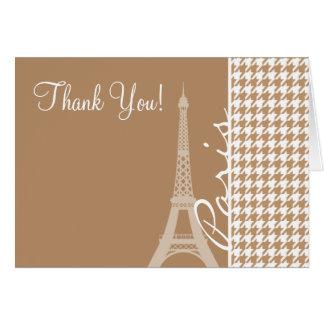 Cartão Torre Eiffel na luz - bronzeie, Tan Houndstooth