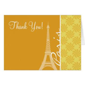 Cartão Torre Eiffel; Paris amarelo alaranjado