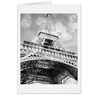 Cartão Torre Eiffel, preto e branco, vazio