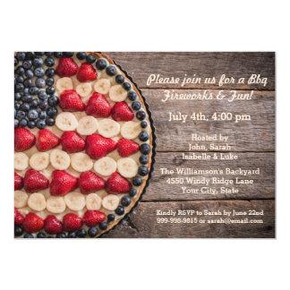 Cartão Torta americana da fruta da bandeira dos EUA