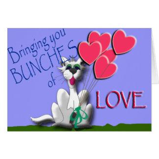 Cartão Traga grupos do amor com o gato do Caterwaul