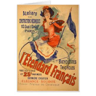 Cartão Triciclo francês da bicicleta da propaganda do