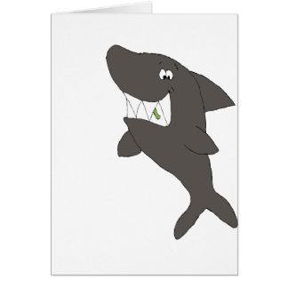 Cartão Tubarão dos desenhos animados com comida nos