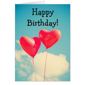 Cartão Two balloons: Happy Birthday Card