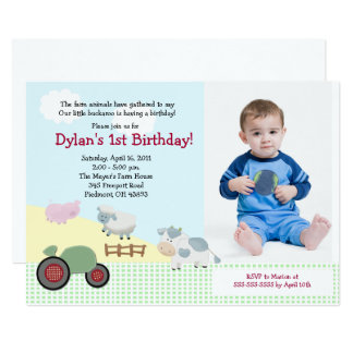 Cartão Um dia no aniversário 5x7 do *PHOTO* da fazenda