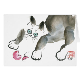 Cartão Um gatinho grita… Alerta quebrado do ornamento