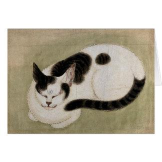 Cartão Um gato do sono