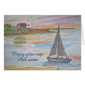 Cartão Um seascape com farol e barco na noite