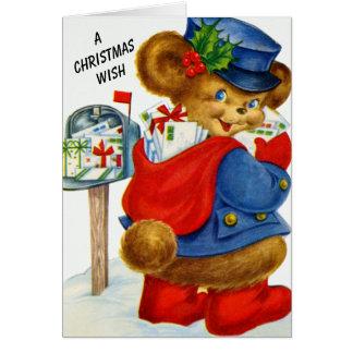 Cartão Um urso do carteiro do feriado do papai noel do