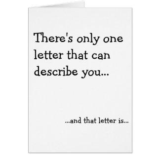 Cartão Uma letra