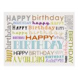 Cartão unisex da tipografia do feliz aniversario cartão postal