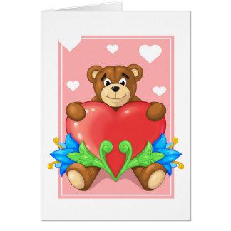Cartão urso do coração