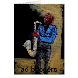Cartão urso legal do saxofone