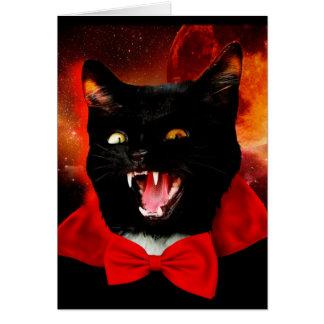 Cartão vampiro do gato - gato preto - gatos engraçados