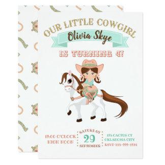 Cartão Vaqueira pequena no aniversário das meninas do