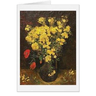 Cartão Vaso com Viscaria, belas artes de Van Gogh