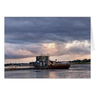 Cartão vazio com barco do rio Mississípi