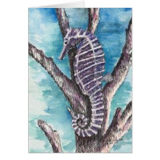 Cartão Vazio roxo do cavalo marinho