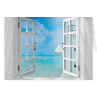 Cartão veleiro e farol na janela para o dia conhecido