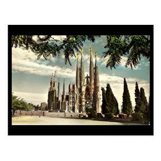 Cartão velho, Barcelona, Sagrada Familia Cartão Postal