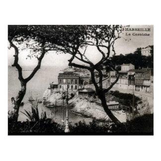 Cartão velho - La Corniche, Marselha Cartão Postal