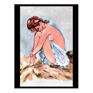 Cartão velho - menina Pin-Acima
