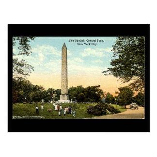Cartão velho - Obelisk, Central Park, NYC, 1917 Cartão Postal
