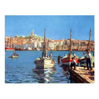 Cartão velho - porto de Vieux, Marselha Cartão Postal