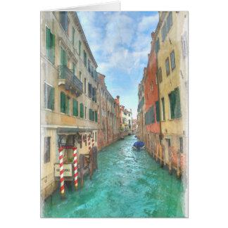 Cartão Venetian do Watercolour do canal
