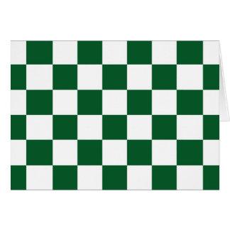 Cartão Verde Checkered e branco