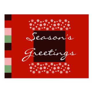 Cartão verde cor-de-rosa vermelho do Natal do Bord Cartão Postal