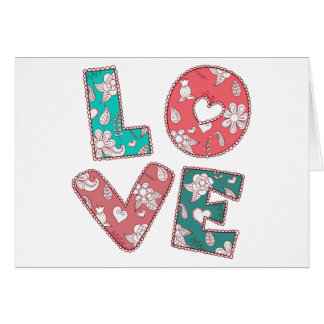 Cartão Verde do amor do hippy do vintage & rosa, floral