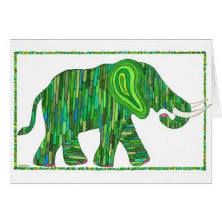 Cartão verde do elefante do jade de Jerry