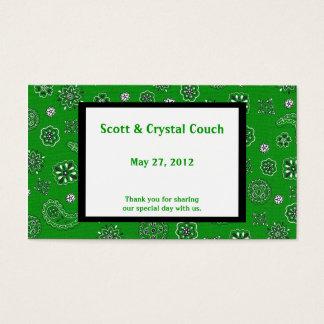 Cartão verde do favor do casamento do Bandana