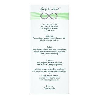 """Cartão verde do menu do casamento da infinidade convite 10.16"""" x 23.49cm"""
