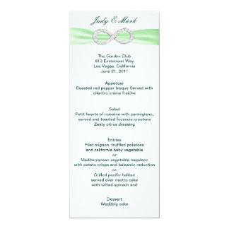 """Cartão verde do menu do casamento da infinidade do convite 10.16"""" x 23.49cm"""