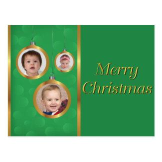 Cartão - verde & ornamento do ouro 3-Photo Cartão Postal