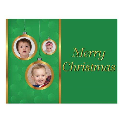 Cartão - verde & ornamento do ouro 3-Photo Cartoes Postais