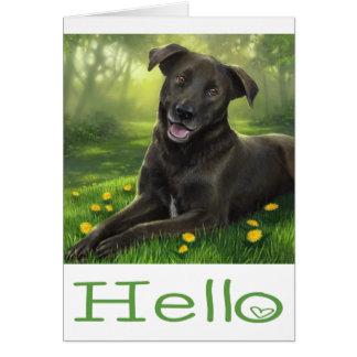 Cartão Verde preto do cão de filhote de cachorro de