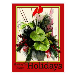 Cartão verde & vermelho do feriado feliz dos