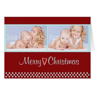 Cartão Vermelho da foto do dobro do Natal do bastão de
